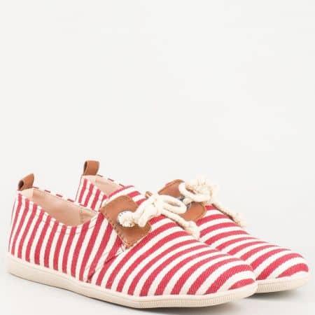Дамски практични обувки с връзки, тип еспадрила в червено- бяло райе 0001chv