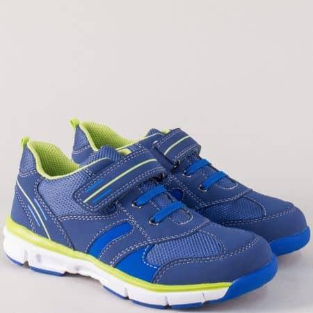 Сини детски маратонки с връзки и лепка на равно и комфортно ходило 000414s