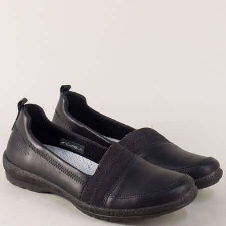 Черни дамски обувки LEGERO от естествена кожа на равно ходоло  000874ch