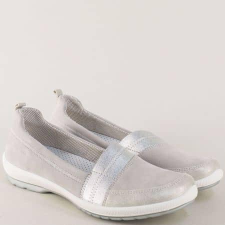 Сиви дамски обувки LEGERO от естествена кожа на равно ходило 000874sv