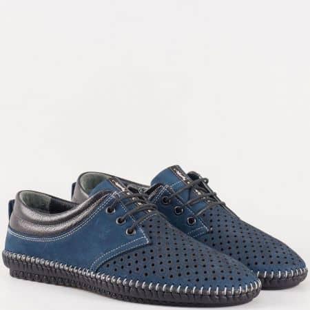 Мъжки обувки за всеки ден на комфортно гъвкаво ходило изработени от висококачествен естествен набук и кожа в син цвят 00105ns