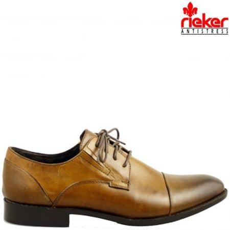 Стилни мъжки обувки Rieker Antistress с връзки, изработени от естествена кожа с трит ефект 0010k
