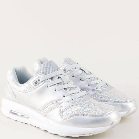 Сребърни дамски маратонки с връзки на равно ходило 009sr