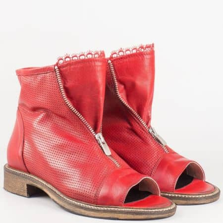 Перфорирани дамски летни боти с цип на нисък ток от червена естествена кожа изцяло- български производител 010316chv