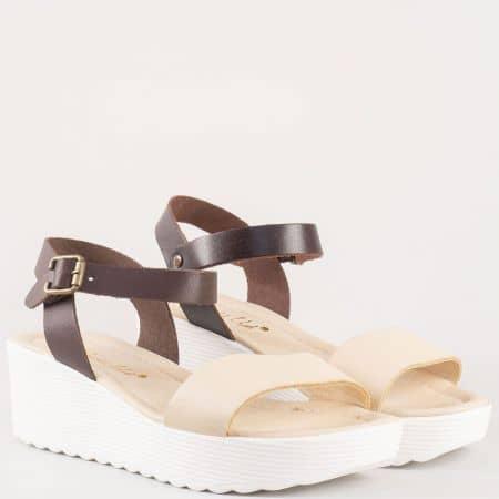 Актуални дамски сандали на платформа от естествена кожа в бежово и кафяво 0105bj