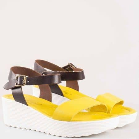 Жълти дамски сандали на клин ходило от естествена кожа изцяло 0105j