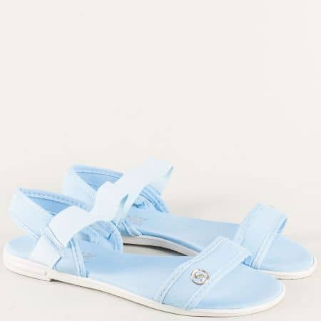 Сини дамски сандали на комфортно равно ходили и практичен ластик 010617s