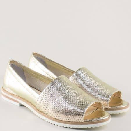Златни дамски обувки от естествена кожа с перфорация 0117zl
