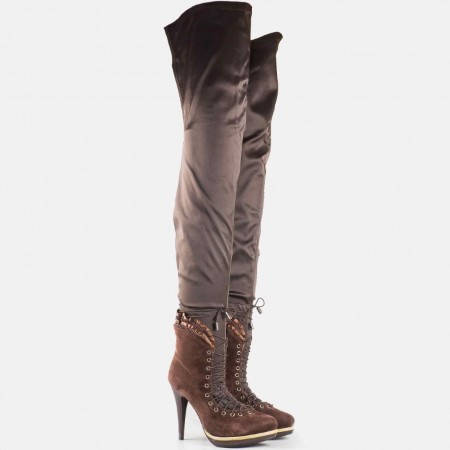 Дамски екстравагантни ботуши на висок стабилен ток и платформа в кафяв цвят 012vk