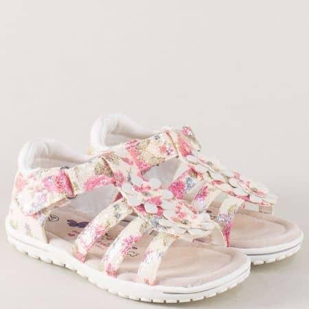 Кожени детски сандали в бяло, зелено, розово и синьо 015397b