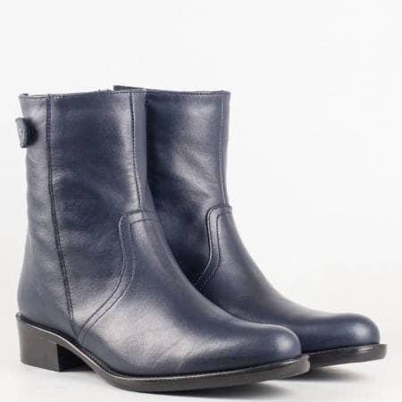 Дамски удобни боти произведени от висококачествена естествена кожа в тъмно син цвят 01s