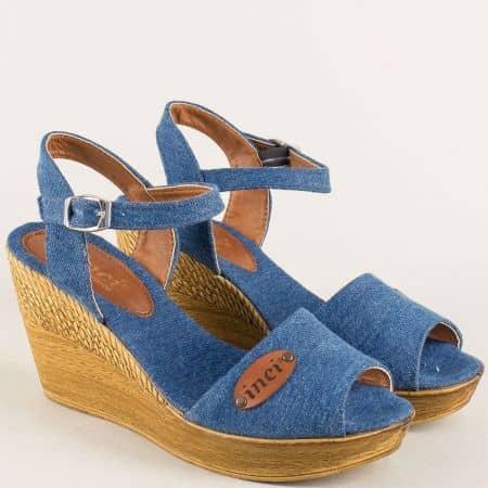 Дамски сандали в син цвят на платформа  020617ds