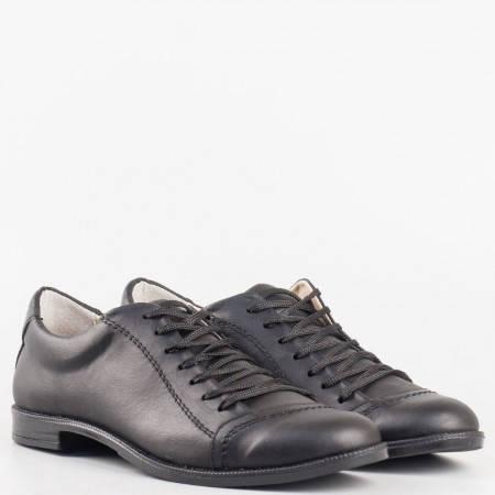 Дамски ежедневни обувки от изцяло естествена кожа на известен български производител в черен цвят 0213ch