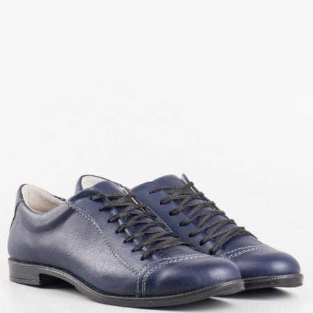 Дамски комфортни обувки изработени от 100% естествена кожа на водещ български производител в син цвят 0213s