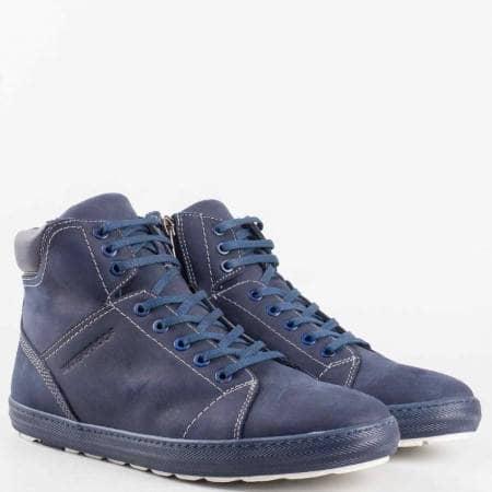 Мъжки комфортни боти, тип кец, изработени от естествен набук в син цвят 021ns