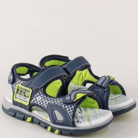 Сиви детски сандали с три лепки и велурена стелка 026275s