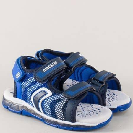 Детски сандали с три лепки и велурена стелка в син цвят 026278s