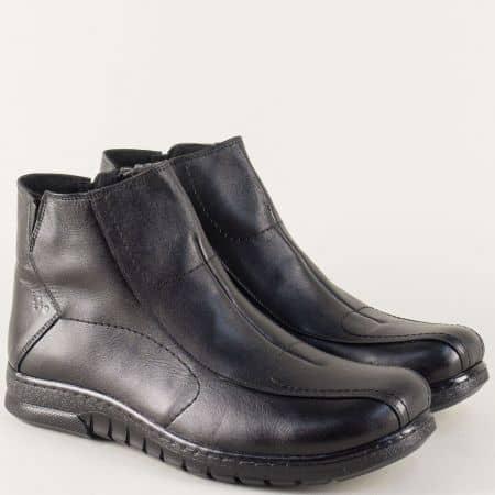 Шити мъжки боти от черна естествена кожа с цип 029ch
