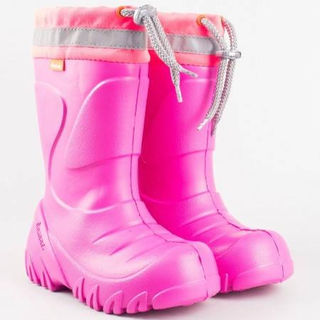 Детски розови гумени ботушки с топъл хастар от вълна и текстил с връзки с грайферно ходило 0300-35rz