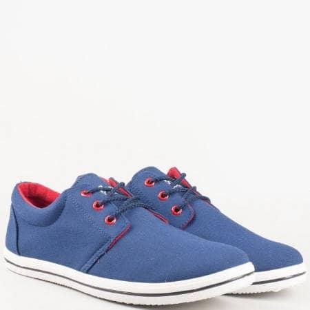 Мъжки гуменки в син цвят и връзки 030106-45s