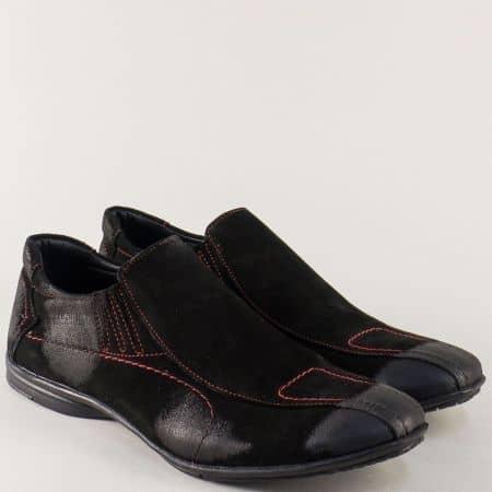 Черни мъжки обувки на равно ходило от естествен велур 0311vch