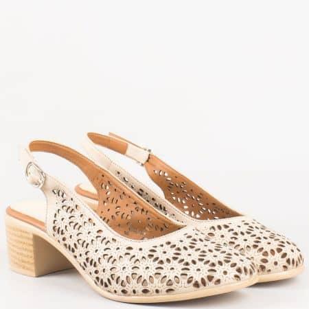 Дамски ежедневни сандали насреден ток от бежова естествена кожа с перфорация 04107bj
