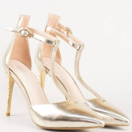 Златни дамски сандали на тънък ток 0478zl