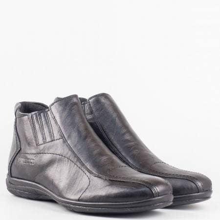 Мъжки комфортни боти произведени от висококачествена естествена кожа в черен цвят 051ch