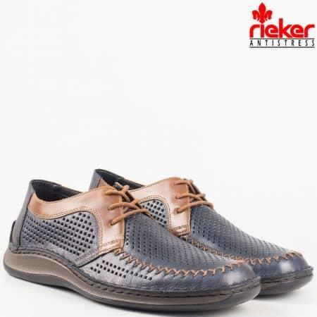 Швейцарски мъжки шити обувки с връзки от естествена кожа с перфорация в син цвят 05227s