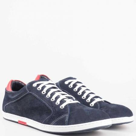 Мъжки атрактивни обувки, тип кец, изработени от висококачествен велур с кожена стелка на водещ български производител в син цвят 0604vs