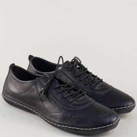 Шити дамски обувки с връзки от черна естествена кожа m061ch