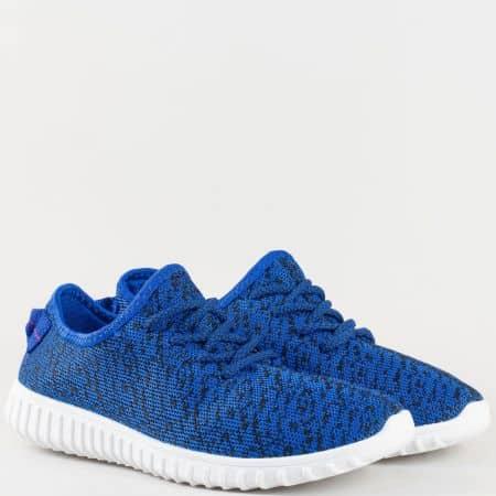 Мъжки атрактивни маратонки произведени от висококачествен мек текстил с връзки в синьо 070516s