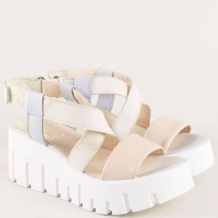 Кожени дамски сандали на платформа в син, бежов и розов цвят 070617ps