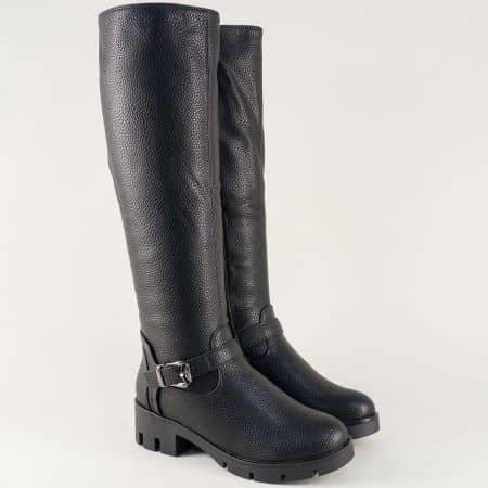 Черни дамски ботуши на среден ток от висококачествена еко кожа 071106ch