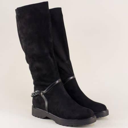 Черни дамски ботуши на комфортна платформа 071133vch