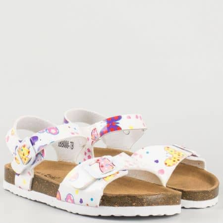 Бели детски сандали със закачлив принт и две катарами 088b