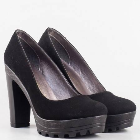 Дамски ежедневни обувки на висок стабилен ток в черен цвят 090915nch