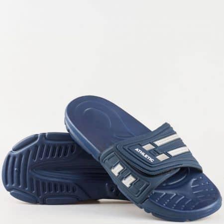 Мъжки джапанки с велкро лента на гъвкаво, комфортно ходило в син цвят 096s