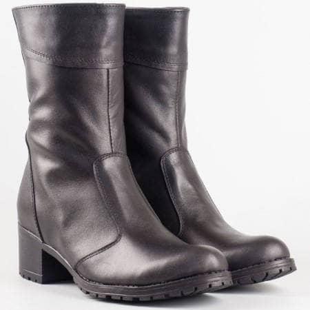 Дамски удобни боти произведени от висококачествена естествена кожа на български производител в черен цвят 1003134ch