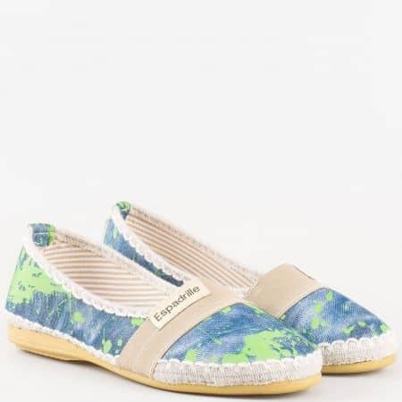 Дамски еспадрили с интересна пролетна визия на удобно ходило в зелен и син цвят 100516sz