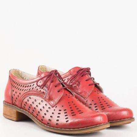 Шити дамски обувки с връзки на нисък ток от естествена кожа с перфорация в цвят бордо на български производител 1011906bd