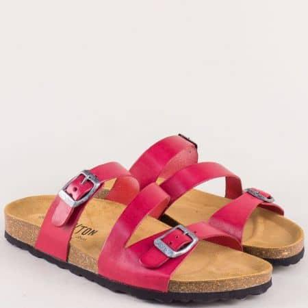Анатомични дамски чехли в червен цвят с кожена стелка 101210chv
