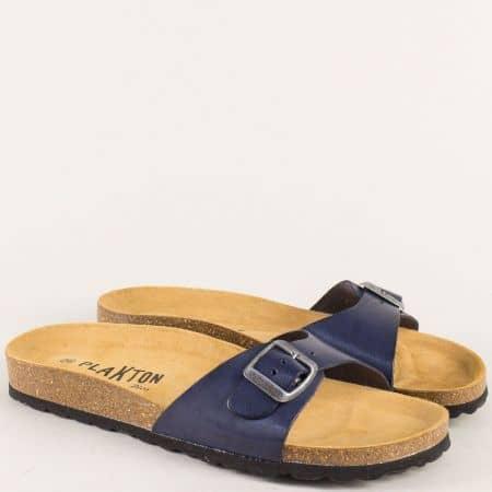 Анатомични дамски чехли от естествена кожа в син цвят 101625s