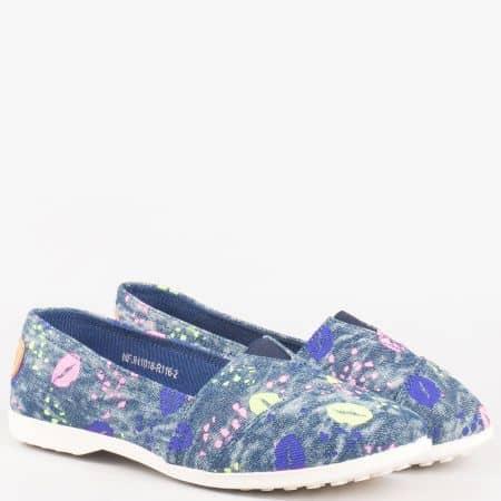 Удобни и леки дамски обувки, тип еспадрила с ластик в син цвят на равно ходило 1018116s