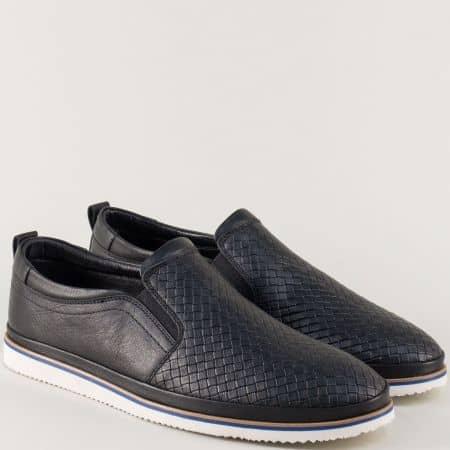 Кожени мъжки обувки в черен цвят с декоративна плетка 101ch