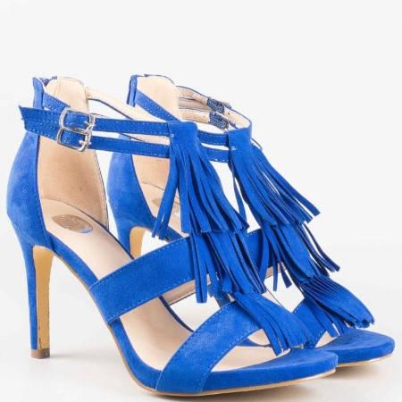 Дамски стилни сандали с ресни на висок ток на Bull Boxer в син цвят 102000s
