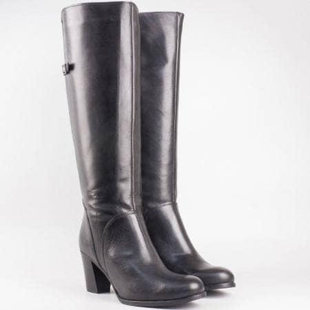 Дамски комфортни ботуши произведени от висококачествена естествена кожа на български производител в черен цвят 10330ch