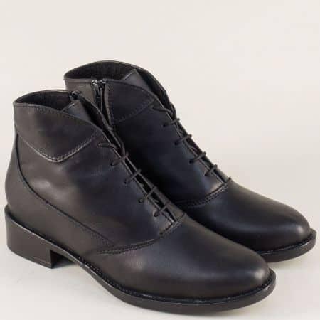 Черни дамски боти от естествена кожа на нисък ток 1042027ch