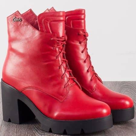 Червени дамски боти на висок ток от естествена кожа 105930chv