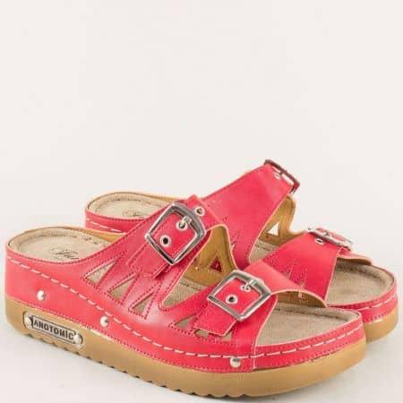 Червени дамски чехли на платформа с анатомична стелка  10677chv